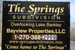 The Springs Subdivision Overlooking Beautiful Lake Barkley, KY